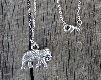 Silver Elephant Necklace 925 Sterling Silver 30 Inch Chain Symbol of Strength, Greatness and Dignity, Elephant Jewelry, Elephant Jewellery
