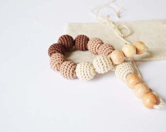 Brown Teething Necklace Crocheted Nursing Necklace Wooden Nursing necklace Gift for mom First mother's day nursing jewerly Crochet teether