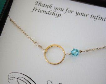 4 Bridesmaid Necklace, Bridesmaid Gift, Thank You Card, White Pearl, Gold Necklace Karma, Infinite Friendship