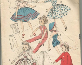 1950s Doll Clothes 10.5 Inch Doll Miss Revlon Six Outfits Advance 8453 Cut Complete Vintage Doll Clothes Sewing Pattern