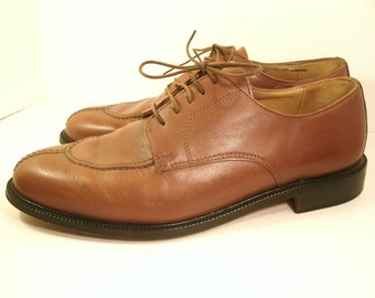 "Alfani Oxfords Italian Caramel Brown Stitched Toe Leather Sole Lining 1"" Heel Business Casual Dress Designer Fashion Shoes Men's US Size 10"