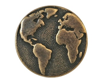 2 TierraCast Earth 5/8 inch ( 16 mm ) Pewter Buttons Brass Color