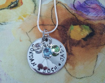 handstamped Personalized Sterling Name Necklace, Mom, MOMMY, Nana, Mimi, Grandmother, birthstone names stainless steel, sterling silver...