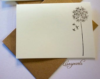 8 - Dandelion blank note cards and envelopes .  Cards are ivory, 4x5.5 inches, hand stamped .