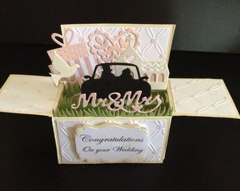 Handmade 3D greeting card, Wedding car