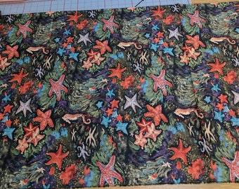 Starfish and Seahorse Cotton Fabric