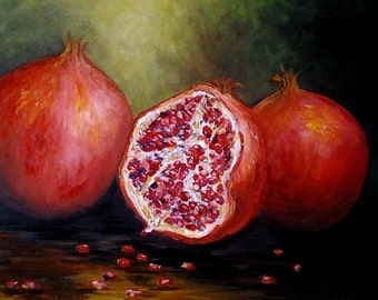 Oil Painting Wall decor Kitchen Art Home Welcoming Gift Original *Red Pomegranates*