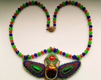 Egyptian Scarab . Beaded Beadwoven . Green Elytra Wings . Bugs Scarab Insect . Beaded Necklace- MAGICAL Scarab ll. by enchantedbeads on Etsy