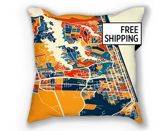 Virginia Beach Map Pillow - Virginia Map Map Pillow 18x18