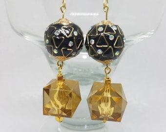 Gold and Black Geometric Earrings