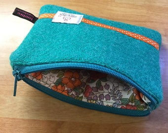 Jade Harris Tweed coin purse, zipped coin pouch, change purse, scottish gift, friend gift, stocking filler