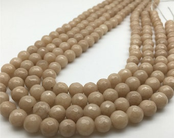 8mm Faceted Jade Beads, Coffee Beads, Gemstone Beads, Wholesale Beads