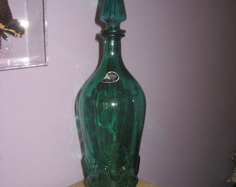 "20"" Rossini Italy Green Glass Decanter Mid-Century Vintage Art Genie Bottle"