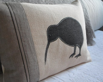 hand printed kiwi cushion