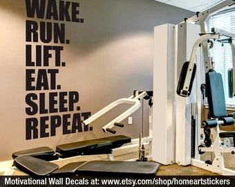 Gym Wall Decal   Exercise Stickers   Workout Stickers   Fitness Stickers   Wall  Decal