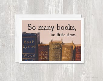 Greeting Card for Book Lover | So Many Books So Little Time | Vintage Books | Bibliophile | Librarian | Teacher Gift | Book Club Card