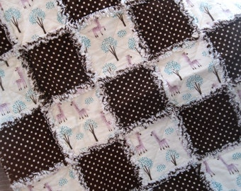 Brown Dots and Pink Giraffes, Flannel Baby Rag Quilt, Fluffy Baby Blanket, Baby Boy Quilt, Baby Shower Gift, Car Seat Quilt, Ready-To-Ship