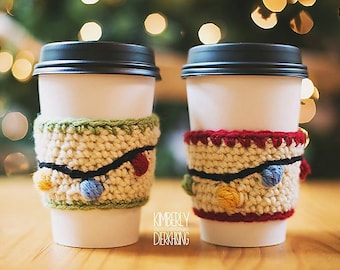 Instant PDF Download, Christmas Lights Coffee Sleeve, Crochet Pattern