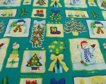 printed cotton fabric Christmas decoration - blue / green