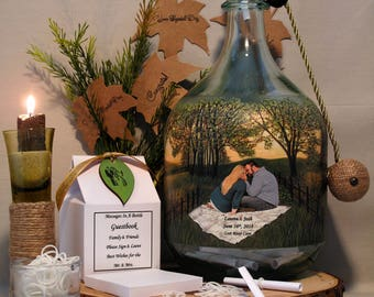 Wedding Guestbook Alternative, Messages In A Bottle Guestbook With Your Photo and Added Hand Painted Embellished Scenery, Wedding Gift