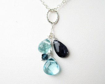 Shades of Blue Pendant, .925 Sterling Silver Pendant, Blue Iolite Teardrop, Light Aqua Glass Faceted Drops, Navy Blue Crystal, Handmade
