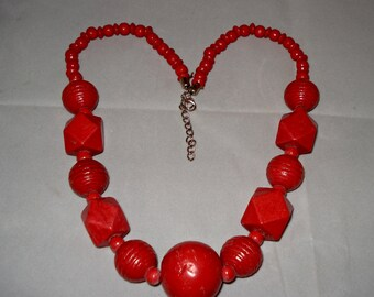 Vintage red/rust geometric bead necklace