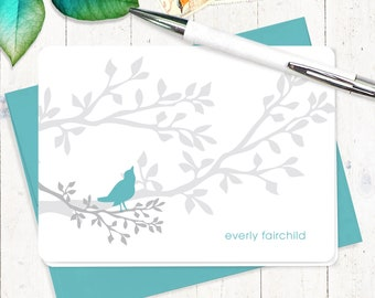 personalized stationery set  - BIRD ON BRANCH - set of 8 folded cards - personalized stationary - bird lover gift set