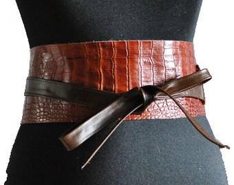 brown leather obi belts. Obi belts under aligators leather.
