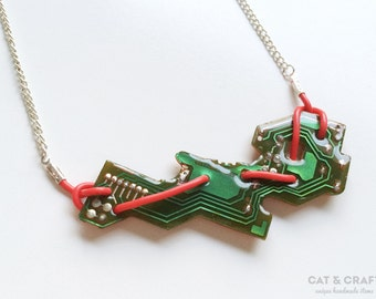 Necklace, recycled circuit board, gift for her, geeky jewelry, minimal, nerd, techie, computer, engineer, handmade, modern