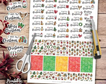 Christmas Countdown Printable Planner Stickers, Watercolor Christmas Stickers, Winter Printable Stickers, Cut File