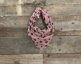 Red & White Stripes Blue Stars Patriotic Military America Tie On Dog Bandana