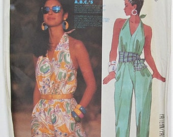 Halter Jumpsuit With Long Tapered Legs Or Short V Neck Elastic In Upper Waistline Seam Casing Size 12 Sewing Pattern McCall's 2534