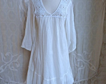 Mexican Gauze Cotton and Crochet Lace Tunic Dress