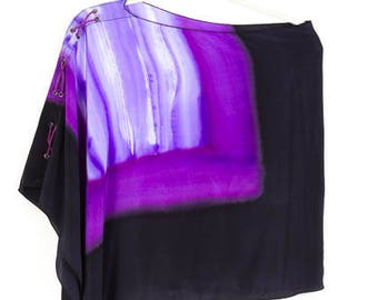 Leather Laced Silk Poncho Purple/Black One of a Kind: Navajo Now