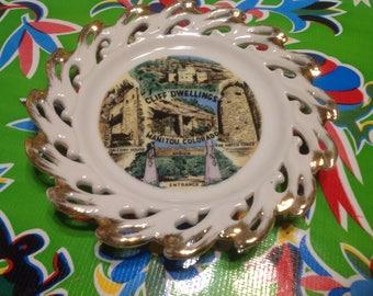 Vintage small ceramic souvenir plate- Cliff Dwellings, Manitou, Colorado