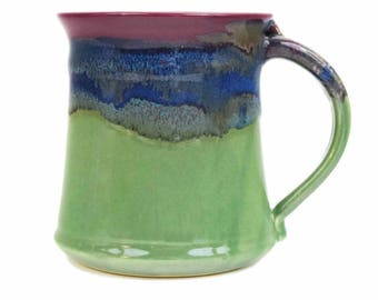 Handmade Ceramic Mug Blue 16 Oz Lead Free Dishwasher Microwave Safe