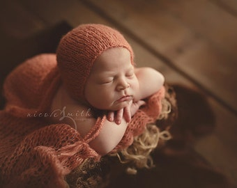 Simply Newborn Bonnet and Pure Naturals Newborn Stretch Knit Wrap in Dreamy Summer Sun Peachy Coral Orange