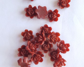 10 SMALL ORCHID Cabochons - 10mm - Red Color