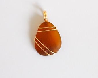 Amber Teardrop Seaglass Pendant