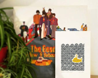 Hand printed Beatles 'Our Friends Are All On Board' linocut print, yellow submarine, the beatles