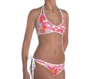 Pink Hearts Womens Bikini - Womens Swimwear - Bikini Top - Women Summer Swimwear- Summer Bikini - Women Bathing Suit
