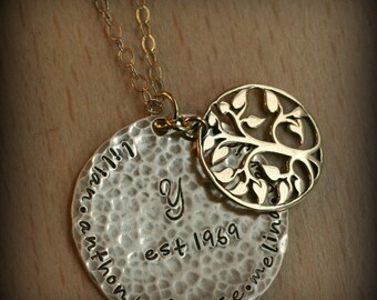 Gold Filled Grande Family Tree Hand Stamped Personalized Mommy Name Family Necklace