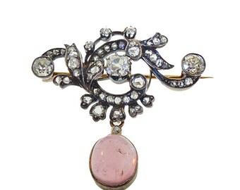 Napoleon III 18K Gold Diamond Tourmaline Brooch