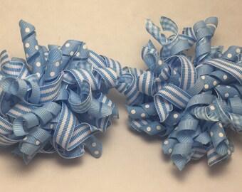 Light Blue Korker Hair Bow set