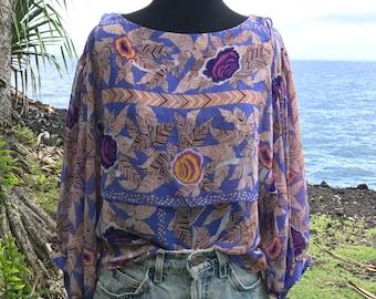 Vintage 70s style floral boho blouse