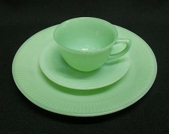 3-Piece Jadeite Jane Ray Pattern 1 Dinner Plate, 1 Cup, 1 Saucer No Chips All Marked Nice 1950s Ref 19466