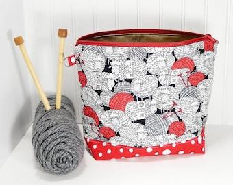 Knitting bag sheep, Crochet project bag, small work in progress knitters gift, wip knitting bag, gift for knitter, crochet gift