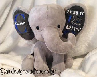CUSTOM ELEPHANT Stuffed Animal Baby Stats Plush