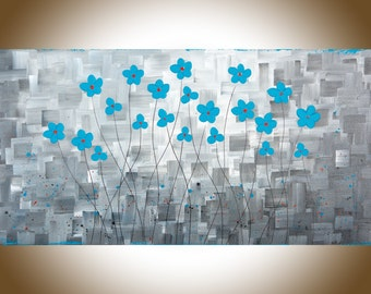 """Grey Turquoise flowers art large wall art painting on canvas original artwork home decor wall decor """"After the Rain II""""by QIQIGallery"""