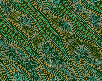 Australian Fabric - Spirit Woman - Aboriginal Fabric - Spirit Dreaming Green by Anette Doolan - Priced by the half yard